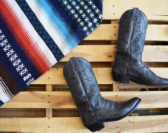 Men's Vintage 10 D DAN POST Dark Gray Leather Cowboy Boots Made in Mexico Western Rustic Boho