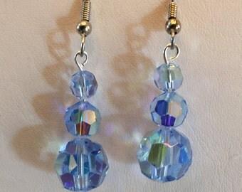 Vintage Blue Aurora Borealis Crystal Beaded Pierced Earrings