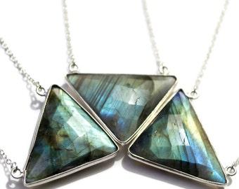Labradorite Necklace, Triangle Necklace, Silver Labradorite Necklace, Labradorite Pendant Necklace, Gemstone Layering Necklace