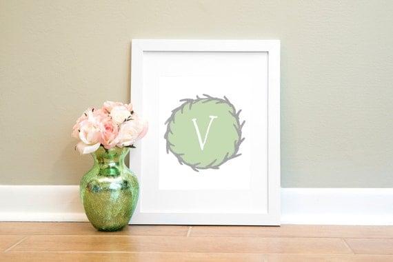 Wall Decor Letter V : Letter v print monogram wall art printable nursery