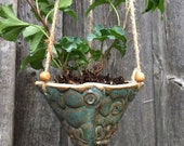 Handmade Blue Spiral Pottery Hanging Planter