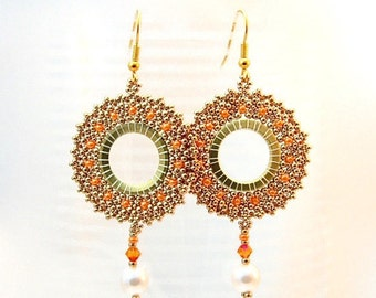 Earrings hoops gold to pearls Swarovski Crystal bead embryo earrings hoop earrings beadwork earrings handmade