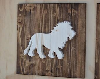"Lion Wood Safari Animal Plaque Cutout 13"""