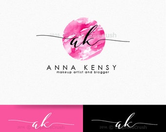 Makeup Artist Logo Makeup Artistry Logo Beauty Logo Pink Watercolor Logo Watercolor Beauty Logo