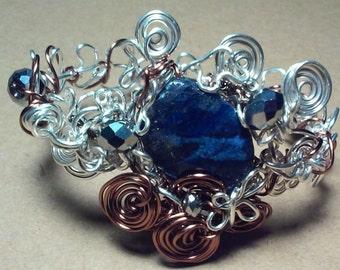 "Lapis Bracelet, Handmade- Crystal, Spiral, Heart, Flower, Copper, Silver, Design (L- 7.5"")"