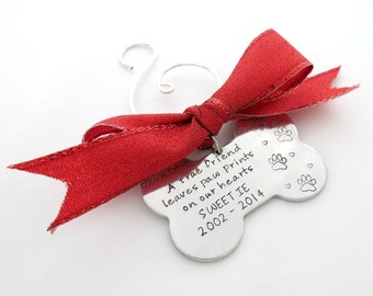 Dog Bone - Personalized Ornament - Dog Memorial Ornament - Family Dog - Dogs Name Ornament - Loss of a Dog -  Mans Best Friend -Engraved