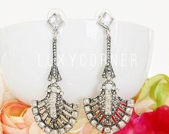 Gatsby Earrings, Great Gatsby Earrings, Art Deco Earrings, Prom Earrings, Vintage Acessories, Vintage Earrings,