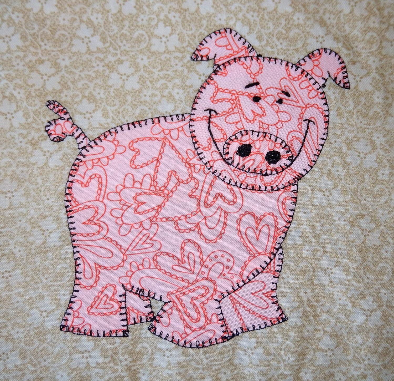 Pig Pdf Applique Pattern Boy Or Girl Farm Animal Quilt Block