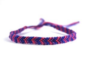Pink, Purple and Dark Blue Friendship Bracelet