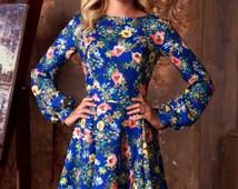Blue floral summer dress with long sleeve, bohemian sun dress, womens casual summer dresses, Short summer dress , knee length blue dress