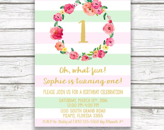 Pink and Green First Birthday Invitation Girl, Floral First Birthday Invitation, Pastel Birthday Invitation, Pink Floral Birthday Invite