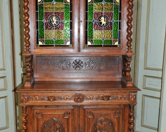 BEAUTIFUL Antique French Cabinet Stunning Leaded Glass Carved Wildlife #5768