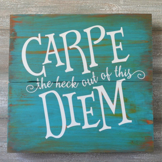 Wall Decor Signs With Sayings : Rustic wood sign inspirational wall signs carpe diem