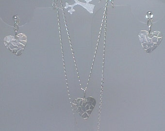 Textured Sterling Silver Heart Pendant and Earrings