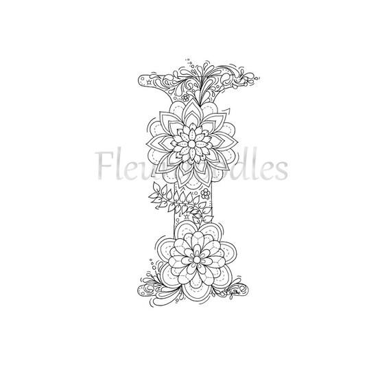 adult coloring page floral letters alphabet i hand. Black Bedroom Furniture Sets. Home Design Ideas