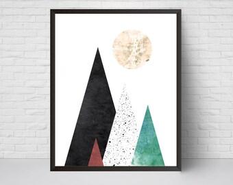Geometric Mountain Wall Art Print, Printable Moon Art, Mid Century, Modern Triangles Wall Decor, Abstract  Scandinavian  Watercolor