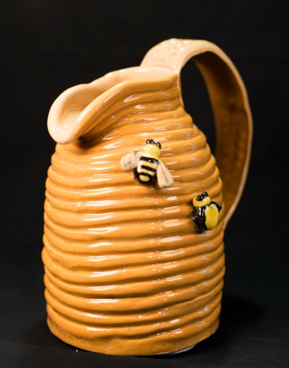 Handmade Coil Pottery Beehive Pitcher Honey Color With Bees