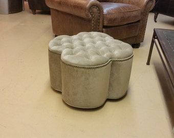Upholstered. Tufted. Microfiber Traditional Clover Ottoman with Nail Head~ Design 59