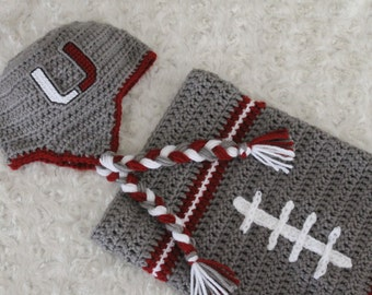 Baby FOOTBALL Cocoon, Newborn Football swaddle, Urbana HILLCLIMBERS Inspired (Handmade by me and not affiliated with the NCAA)
