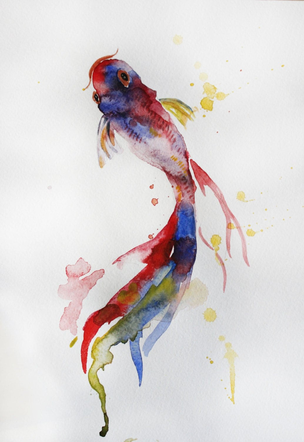 Original watercolor painting koi fish gold fish by for Coy fish painting
