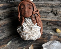 FREE SHIPPING Desert Rose Selenite Necklace Clay Nature Goddess Woman Pendant Reiki New Age Hippie Spiritual Boho Jewelry Mystic