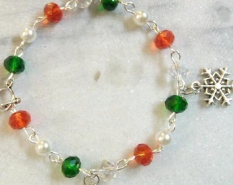 Christmas Charm Bracelet with Swarovski Crystals-Custom Fit to Your Size, or average 7 1/2 inches