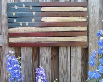 Primitive Handmade American Flag, Artisan Made USA, American Flag, Wooden Flag, Americana Decor,Flag Sign,Wooden Sign, Primitive Sign