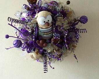 Fall Owl Wreath, Halloween Wreath, Deco Mesh, Burlap Wreath, Home Decor, Owl Fall Decor, Indoor Decor, All Season Wreath, Fall Indoor