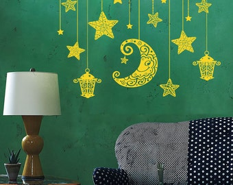 Wall Vinyl Decal Moon and Stars Night Sky Ethnic Sketch Style Drawing Astronomy Modern Home Decor (#1189dz)