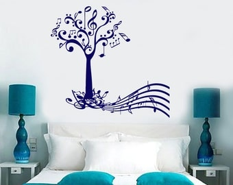 Wall Vinyl Decal Music Tree with Notes and Musical Key Note Paper Abstract Modern Home Decor (#1196dz)