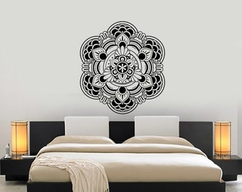 Wall Vinyl Decal Yoga Mandala Flower Ornament Yoga Studio Decor Yoga Room Modern Home Decor (#1230dz)