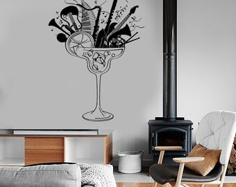 Wall Vinyl Music Musical Instruments Glass Guaranteed Quality Decal Mural Art 1005dz