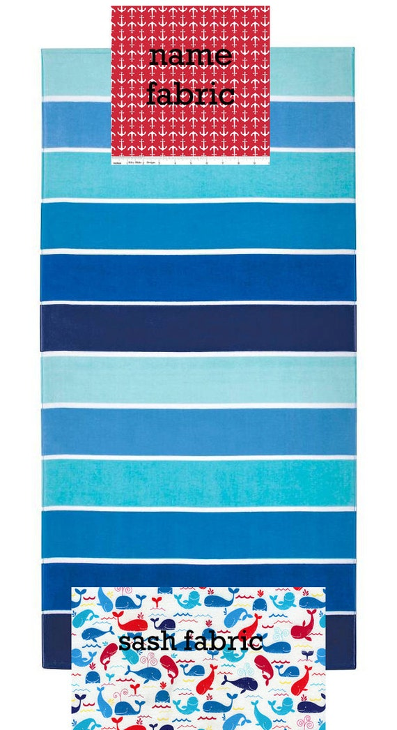 Personalized Name Stripe, Anchor and Whale Nautical Beach Towel with Fabric Bow, Summer, Birthday Gift