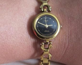 Vintage Ladies Gold Watch, Working Quartz Watch, Womens Elegant Watch Luch, Russian Watch