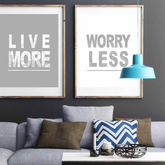 Items similar to inspirational print live more worry less for Inspirational items for office