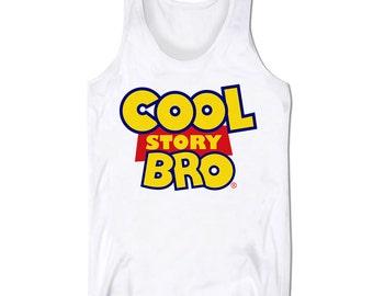 Slogan Tank Top Cool Story Bro Parody Hip Hop Hipster Fresh Gym Holiday Low Cut Vest