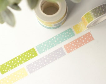 Label Polka Dot Washi Tape - 1 Roll: Peach Purple Green Yellow Aqua Blue Polka Dot Label Washi Tape - Washi Tape