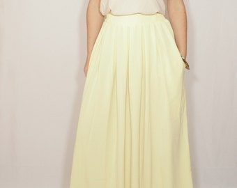 Pale yellow skirt Chiffon maxi skirt High waisted maxi skirt with pockets Women skirt