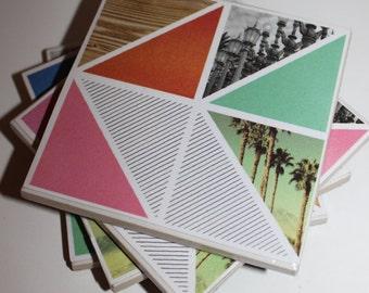 Ceramic tile coasters - beach modern - set of 4