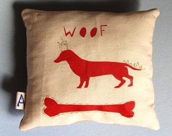 Doggy cushion, Dog bone pillow, Unique dog pillow, Red screen printed pillow, Doggy pillow, Pet décor cushion, Stuffed pet art, Dog art