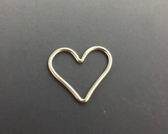 Open Heart Charm, Sterling Silver