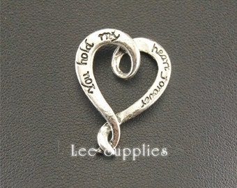 10pcs Antique Silver Heart Shape You hold my heart forever Charm Pendant A1324
