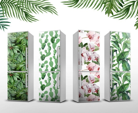 floral magnet sticker tropical fridge cover by lovecoloray. Black Bedroom Furniture Sets. Home Design Ideas