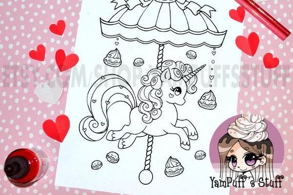 Valentine Macaron Carousel Pony  - Clip Art - Digital Stamp