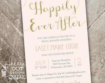 Happily Ever After - Bridal Shower Invitation - Custom Digital Print