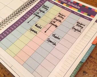 Class Schedule planner insert - INSTANT DOWNLOAD