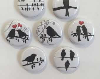 Silhouette Bird Magnets - set of 7