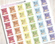 36 Cute Cheat Day/ Potato Chips Planner Stickers designed for Erin Condren Life Planners, Filofax, Kikki K & others :)