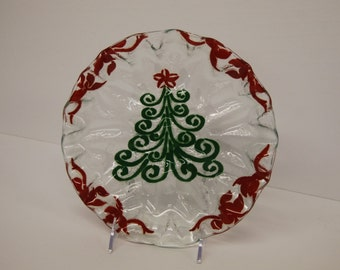 Art Glass  Plate with a Modern Christmas Tree design