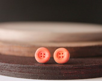 Button stud earrings, handmade with polymer clay, one of a kind jewelry, handmade gifts, for her, original earrings for gifts